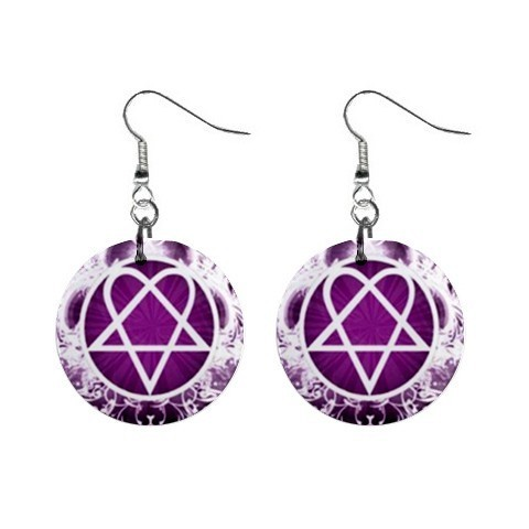 "Custom Heartagram Logo  1"" Button Earrings NEW-04"