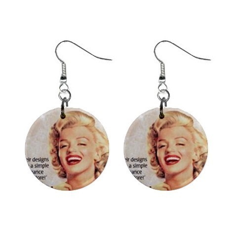 "Custom Marilyn Monroe 1"" Button Earrings NEW"