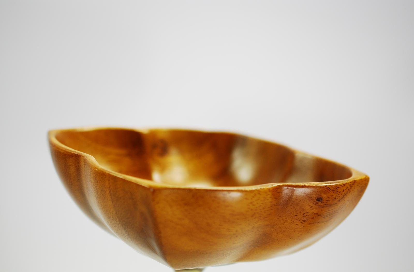 Monkey pod carved wood bowl hala kahiki mid century tiki