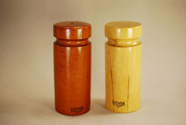 Dansk Wooden Salt & Pepper Shakers w Stoppers Denmark MCM Wood Kitchen - $16.99