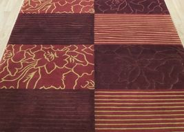 Abstract Shades of Red Gold stripes Handmade 6 x 8 Red Modern Wool & Silk Rug image 12