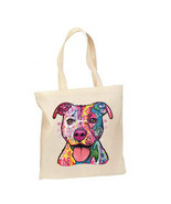 Neon Pit Bull Dog New Lightweight Cotton Tote Bag Day of the Dead - $12.99