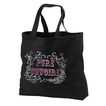 Pure Cowgirl New Black Cotton Tote Bag, Glittery Shimmer Cool - $17.99