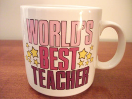 WORLD'S BEST TEACHER CERAMIC RUSS BERRIE COFFEE MUG NEW - $4.99