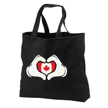 Cartoon Hands Canada Flag Heart New Black Tote Bag Travel Gifts Shop - $17.99