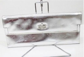 AUTHENTIC BALENCIAGA Leather Clutch Bag Silver 212189 - £233.53 GBP