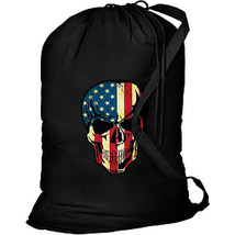 USA American Skull New Laundry Tote Camp Travel Bike Events Bag - $19.99