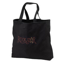 Rhinestud Rock Star New Black Tote Bag Books Gifts Shop - $17.99
