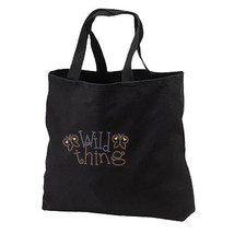 Rhinestud Wild Thing New Black Tote Bag Books Gifts Shop - $17.99