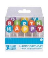 Oasis Supply Happy Birthday Letter Candle Holders with Candles, 2.5-Inch - $3.99