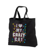 I Love My Crazy Cat New Black Tote Bag, Neon Co... - $17.99
