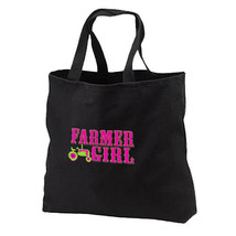 Neon Farmer Girl Tractor New Black Cotton Bag Events Gifts Novelty - $17.99