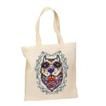 Sugar Skull Pit Bull Dog New Lightweight Cotton Tote Bag Day of the Dead - $12.99