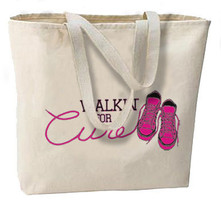 Walkin For A Cure New Jumbo Tote Bag, Breast Cancer Awareness - $18.99