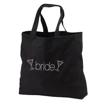 Rhinestone Bride Wine Glasses New Black Tote Bag, Wedding, Showers, Gifts, Parti - $19.99