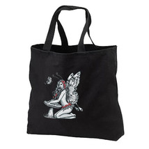 Mushroom Toadstool Fairy New Black Tote Bag Books Travel Shop Gifts - $17.99