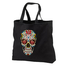 Sugar Skull Roses New Black Cotton Tote Bags Travel Shop Day of the Dead - $17.99