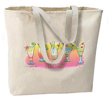 Bottoms Up Tropical Drinks New Jumbo Tote Bag, Beach, Shopping - $18.99
