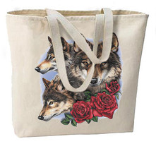 Natures Wolves and Roses New Oversize Tote Bag, Very Nice Unique, All Purpose - $18.99