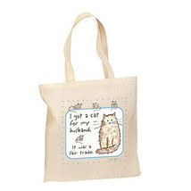Cat For Husband Fair Trade New Lightweight Cotton Tote Bag Shop Gifts Events - $12.99