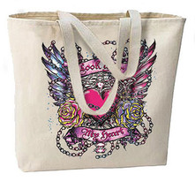 Look After My Heart New Large Canvas Tote Bag Cool Gothic Tattoo Art - $18.99
