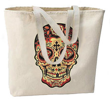 Sugar Skull Red Diamond New Large Tote Bag Travel Events Day of the Dead - $18.99