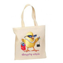 Groovy Diva Shopping Chick New Lightweight Cotton Tote Book Bag - $12.99