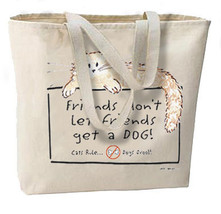 Don't Let Friends Get A Dog New Large Canvas Tote Bag, Cat Humor - $24.92 CAD