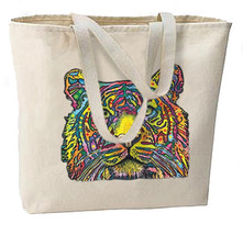 Tiger Neon New Large Canvas Tote Bag Travel Shop Events Gifts - $18.99