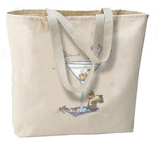 Martini Party New Large Tote Bag, Fun For Travel, Shop, Gifts, Bar - $18.99