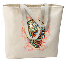Diamond Eyes Sugar Skull New Large Tote Bag Travel Events Day of the Dead - $18.99