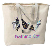 Proud Owner Of A Bathing Cat New Large Canvas Tote Bag, Shopping, Travel, Gifts - $18.99