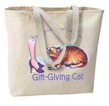 Proud Owner Gift Giving Cat New Oversize Tote Bag, All Purpose, Travel, Shopping - $18.99