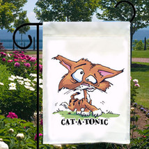 Catatonic Cat Funny NEW Small Garden Flag, Fun For Home, Business, Boat - $12.99