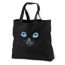 Black Cat Blue Eyes New Black Tote Bag, Unique - $17.99