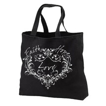Hope Faith Love Heart New Black Cotton Tote Bag Gifts Inspirational - $17.99