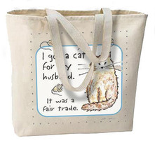 Cat For Husband, Fair Trade NEW Large Canvas Tote Bag - $18.99