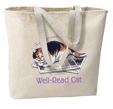 Proud Owner of a Well Read Cat New Oversize Tote Bag, Calico Kitty - $18.99