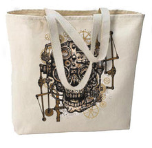 Steampunk Gothic Skull Gears New Oversize Tote Bag,  Unique. - $18.99