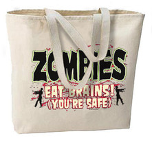 Zombies Eat Brains, You're Safe New Jumbo Tote Bag, Pop Culture Fun - $18.99