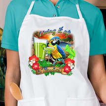 Living It Up Parrot New Apron Cook Beach Events Parties Gifts - $19.99