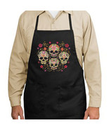 Gothic Sugar Skulls New Black Apron, Unique Day of the Dead - $19.99