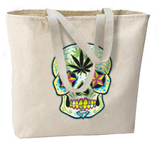 Sugar Skull Pot Leaf New Large Canvas Tote Bag, Day of the Dead - $18.99