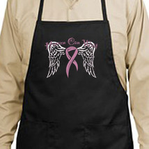 Heaven Can Wait Wings Pink Ribbon New Apron, Breast Cancer Awareness - $19.99