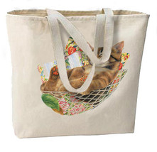 Hammock Napping Cat Kitty New Oversize Tote Bag - $18.99