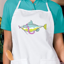 Tropical Lei Fish New Apron, Kitchen, Cook, Bake, Gifts, Beach, Events - $19.99
