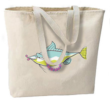 Tropical Lei Fish New Oversize Tote Bag, Summer, Vacations, All Purpose - $18.99