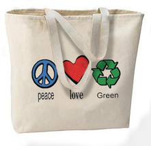Peace Love Green Recycle New Oversize Tote Bag, Great For Shopping, Overnight, V - $18.99