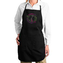 Peace Love Happiness Martini Rhinestud New Apron, Gifts, Party, Bar, Events - $20.99