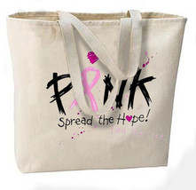 Spread The Hope Pink Ribbon New Jumbo Tote Bag, Breast Cancer Awareness - $18.99